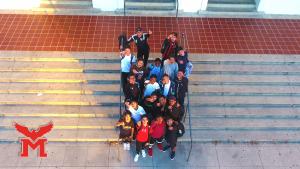Marshall High School Boys Soccer Team in front of school. 2017